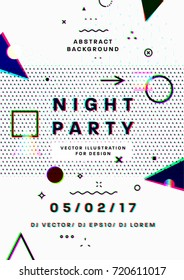 Night party poster. 80s disco style template placard. 3d anaglyph effect. Vector illustration