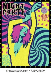 Night party poster design. Handmade drawing vector illustration. Vintage style. Pop art with psychedelic elements.