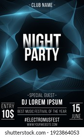 Night party poster. Stylish futuristic flyer with wavy shapes for graphic design. Abstract frame. Glowing vibrant waves. Club and DJ name. Vector illustration. EPS 10.