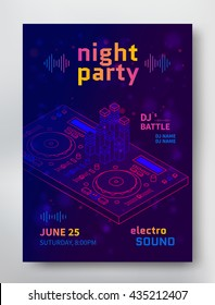 Night party poster template. Electro sound flyer with Dj consol. Vector
