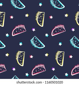 Night party seamless pattern with shiny tacos and stars. Comic flat mexican outline taco texture for fast food banner, textile, wrapping paper, package, cover