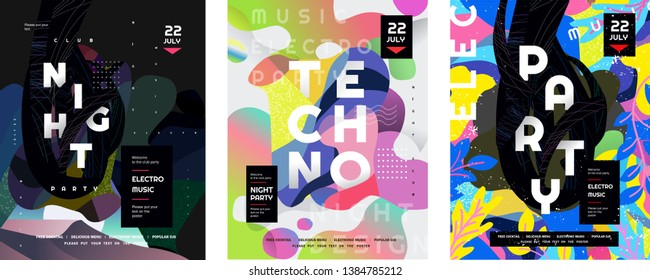 Night party and techno event. Vector gradient abstract background for poster,  flyer or cover. Psychedelic illustration for clubs, DJ, electronic techno music, festival, etc