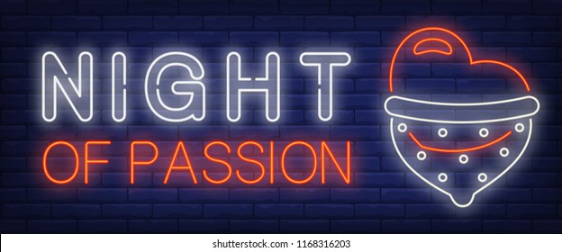 Night of Passion neon sign. Glowing bar heart in condom on brick background. Night bright advertisement. Vector illustration in neon style for erotic and shopping