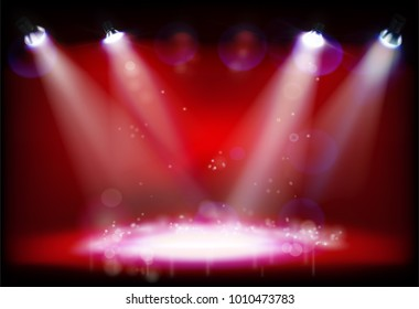 Night performance. The stage with red lights. Vector illustration.