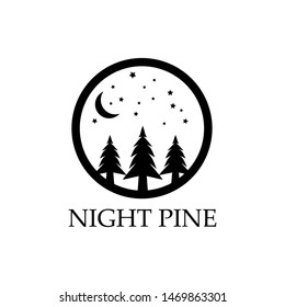 Night pine trees logo. Three pine trees with circle logo. Pine forest logo with stars and halft moon.