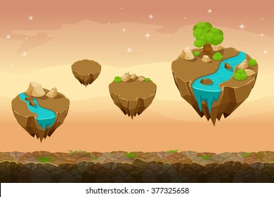 Night prairie game landscape, unending background with rivers on the islands. Gui nature, interface ui. Vector illustration