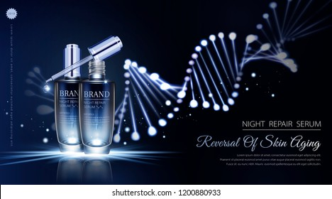 Night repair serum ads with neon helix background in 3d illustration