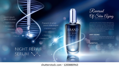 Night repair serum ads with neon helix background in 3d illustration, bokeh glowing background