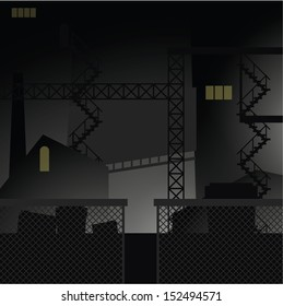 Night retro urban industrial vector background.