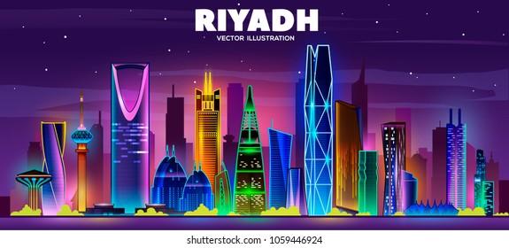 Night Riyadh skyline.Vector illustration