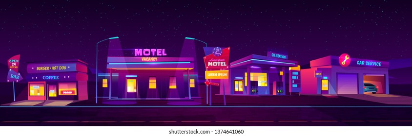 Night roadside motel with parking, oil station, burger and coffee bar and car service glowing with neon purple lights. Index billboard 24 hours accommodation for tourists. cartoon vector illustration.