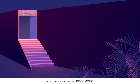 Night scene - entrance on the top of stair in alley under neon open sign and tropical leaves, big wall space for placing the text / doomer / nostalgic feeling