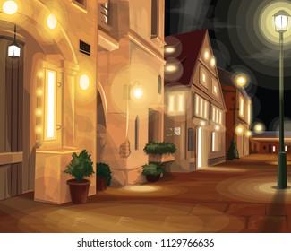Night scene in a quiet European city.vector illustration