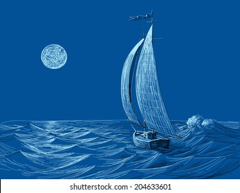 Night sea view, sail boat in the moonlight