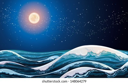 Night sea with waves on a starry sky with full moon.