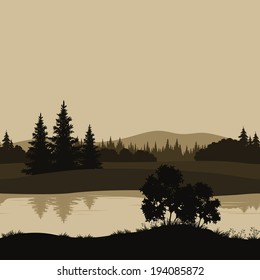 Night seamless landscape, mountains, river and trees silhouettes. Vector