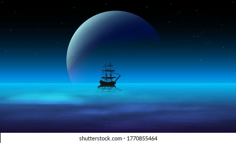 Night seascape with a dark sky and a large planet on the horizon, starry sky and a ship in the water on the background of the planet