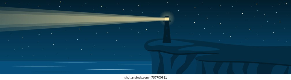 Night seascape with a lighthouse on a cliff. Panorama. Vector illustration