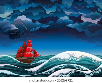 Night seascape with red sailboat and stormy sky. Vector nature.