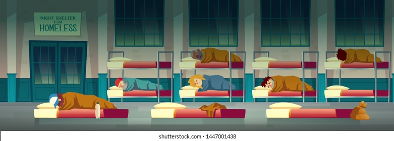 Night shelter for homeless people cartoon vector concept with poor beggar lying on mattress on floor, men and women sleeping on bunk beds in emergency housing center, temporary residence illustration