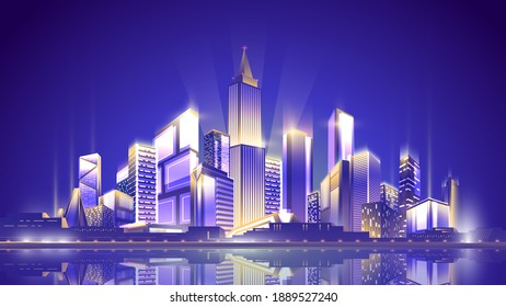 Night shining metropolis on clean sky background with reflection in the water surface.