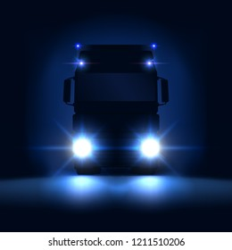 Night silhouette big semi truck with bright headlights and semi riding on the dark night background, front view, vector illustration