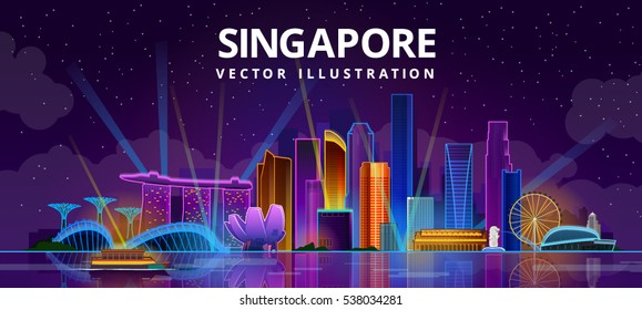Night Singapore city skyline. vector illustration