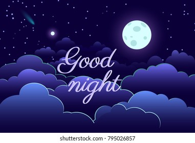 Night sky art design moon star paper cartoon sleep vector illustration background graphic cloud blue abstract card space astronomy dark decoration nature creative landscape dream shape.