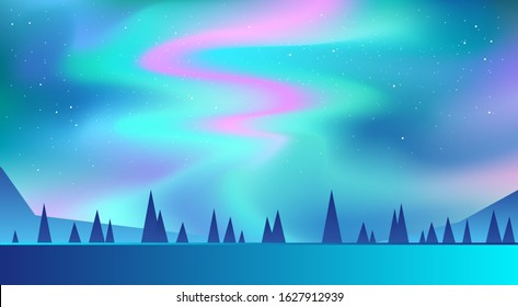 Night Sky, Aurora Borealis, Northern Lights Effect, Realistic Colored polar lights. Vector Illustration, abstract space design for aurora borealis.   The background blue, green, pink and purple