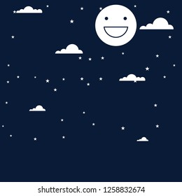 night sky. Background illustration - cartoon night sky - Night starry sky - moon and stars in midnight .paper art style