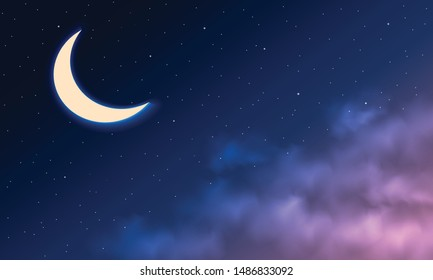 Night sky background. Moon and star, cloud on night sky. Vector illustration.
