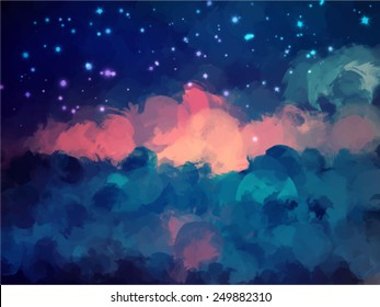 Night sky brush strokes background. Vector version