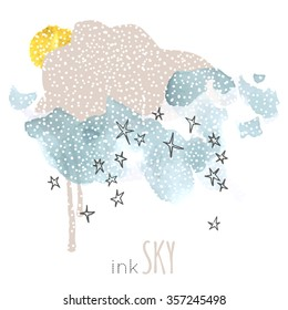 Night, sky, cloud, winter, stars, sun, moon, snow, rain. Hand drawn vector illustration. Line art ink sketch. Watercolor abstract background. Mixed Media, paper cut.
