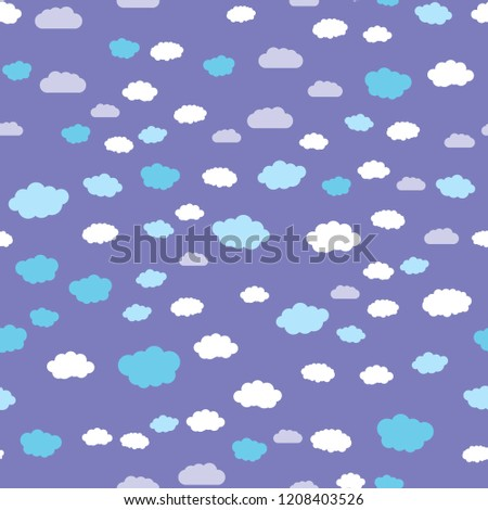 Night sky and clouds. Seamless vector EPS 10. Flat geometric pattern texture. Multicolor abstract background for print and textile