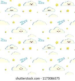 Night sky cute cartoon pattern for kids