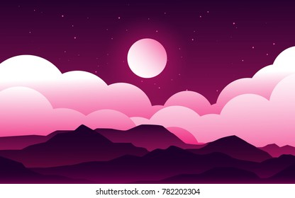 night sky glow landscape view with the moonlight