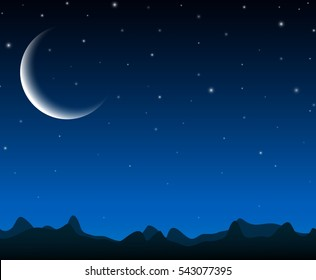 Night sky landscape with silhouette mountains and stars on the crescent moon