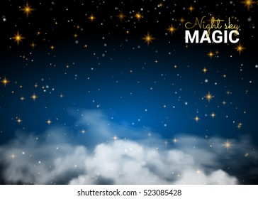 Night sky magic cloud. Holiday Shining Motion Design Card. Infinity Blue Background and Shining Stars. Vector illustration abstract background