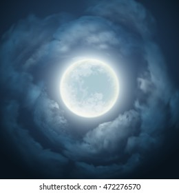 Night sky with the moon and cloud. Vector illustration EPS10
