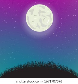 Night sky moon light and hill silhouette. Spring or summer grass on starry background. Beautiful nature evening or morning meadow