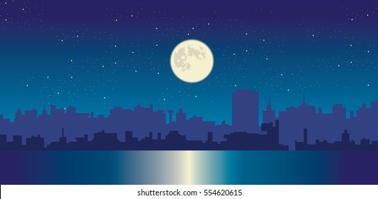 Night sky and moon reflection in water city silhouette vector cityscape illustration