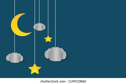 Night sky with moon, stars and clouds. Goodnight and sweet dream