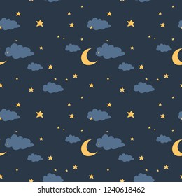 night sky with moon, stars and clouds seamless pattern