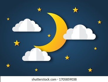 night sky. moon, stars and clouds in midnight. paper art style. vector Illustration.