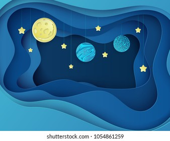 Night sky with moon, stars and planets. Paper art 3D abstract background with origami shapes. Paper waves, layers texture. Geometric design layout.