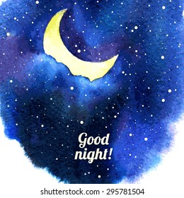 Night sky with moon and stars watercolor abstract stain Vector night sky background Good night