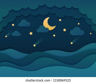 Night sky paper art style background. Blue sea with bright moon, cloud and falling star in night illustration. Vector illustration.
