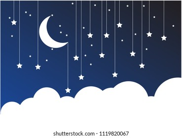 Night Sky Paper Clouds  Stars  Moon on String. Blue background with clouds. Place for your text.