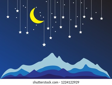 Night Sky Paper with Mountain, Stars, Moon on String.Vector Illustration EPS 10.
