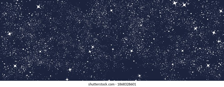 Night sky seamless pattern. Black and white surreal graphic. Magic universe art